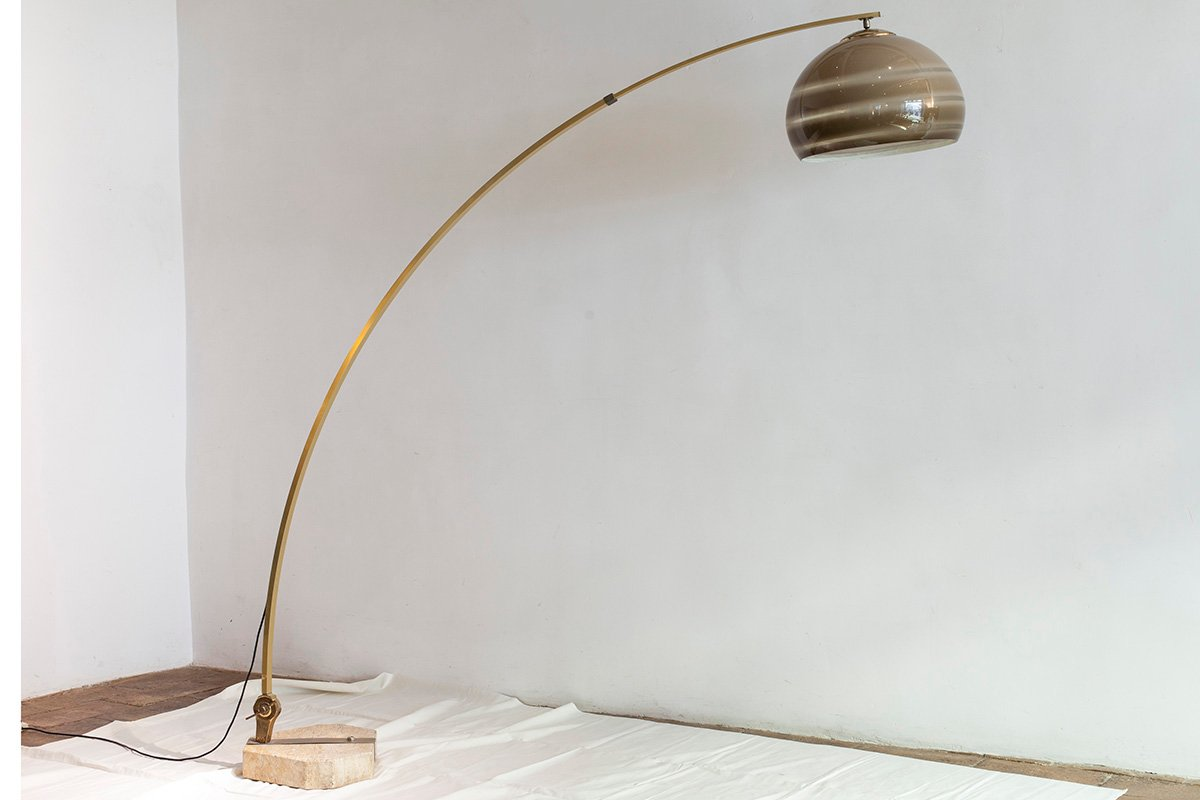 Vintage Italian Brass Arc Floor Lamp For Sale At Pamono