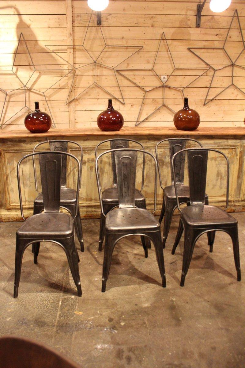 industrielle vintage st hle aus metall von tolix 1950er bei pamono kaufen. Black Bedroom Furniture Sets. Home Design Ideas