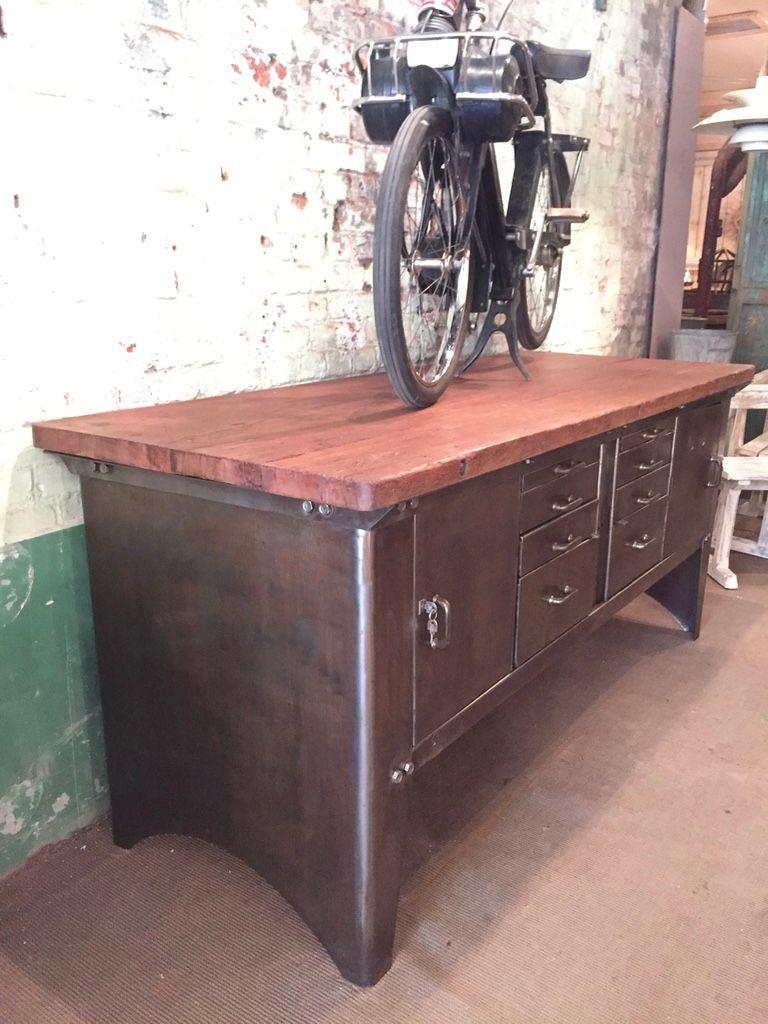 vintage industrial metal sideboard from atelier biguet for. Black Bedroom Furniture Sets. Home Design Ideas