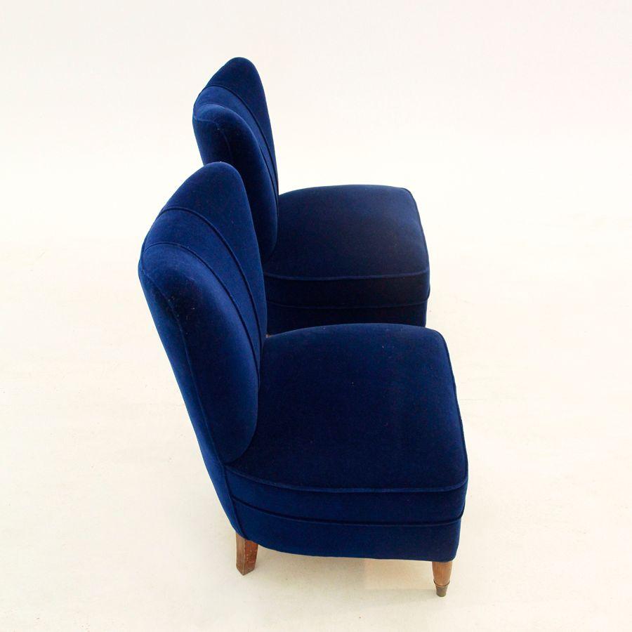 Italienische mid century sessel aus blauem samt 1940er for Sessel italienisches design