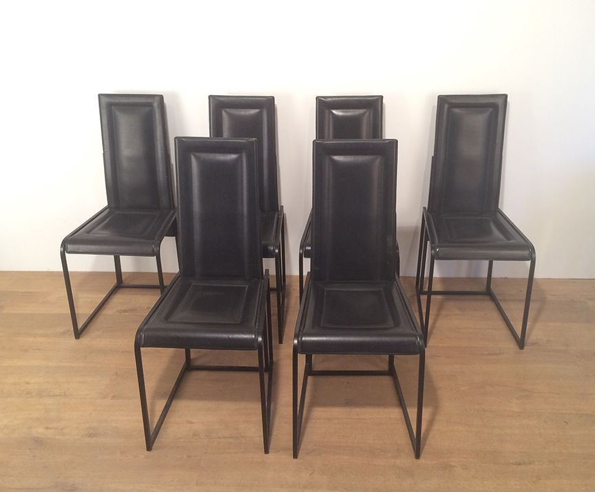 black leather dining chairs set of 6 for sale at pamono. Black Bedroom Furniture Sets. Home Design Ideas