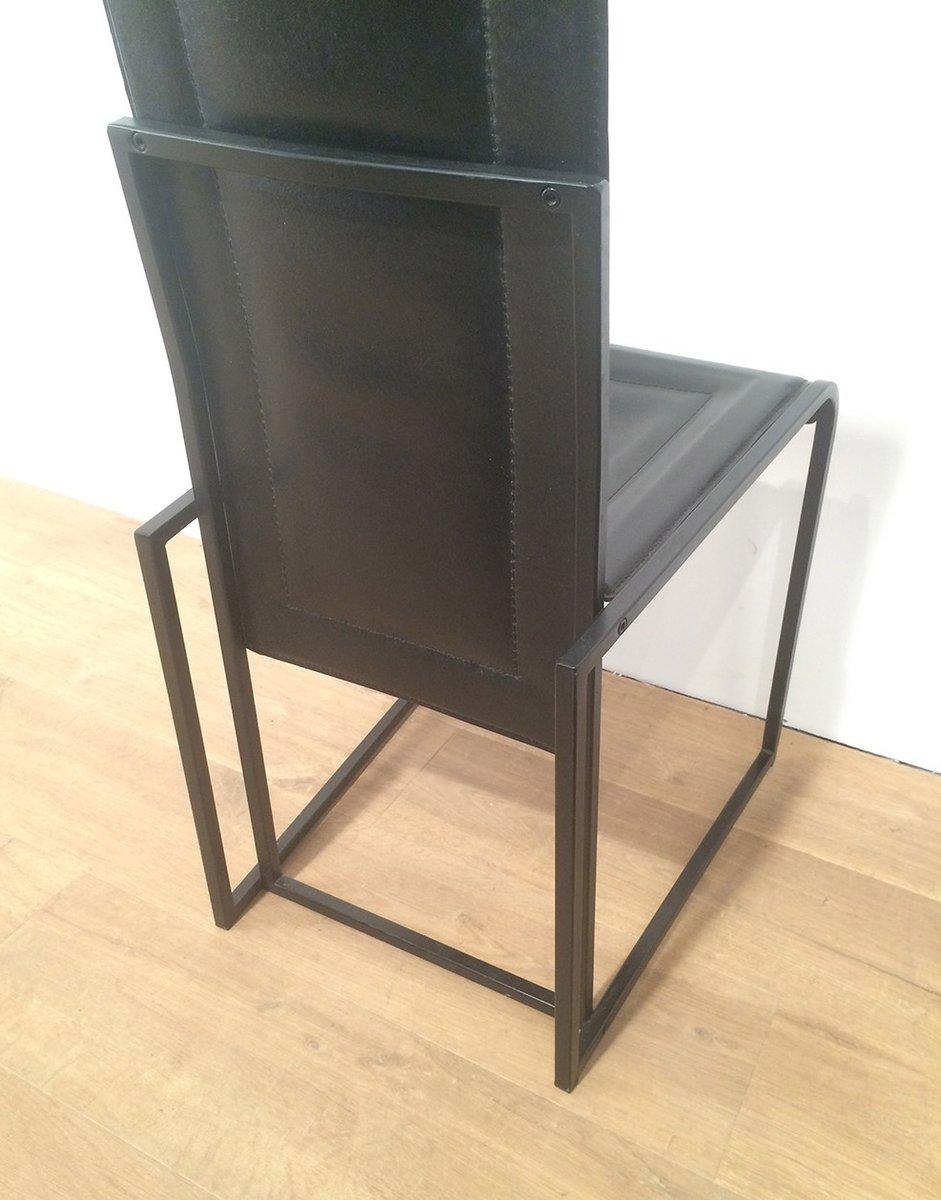 schwarze leder esszimmerst hle 6er set bei pamono kaufen. Black Bedroom Furniture Sets. Home Design Ideas