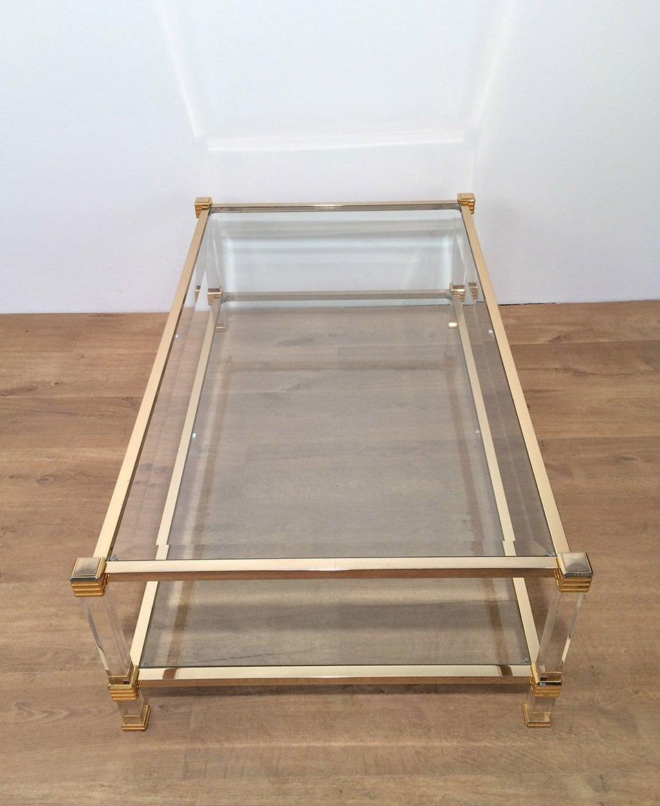 Vergoldeter Vintage Plexiglas Couchtisch bei Pamono kaufen