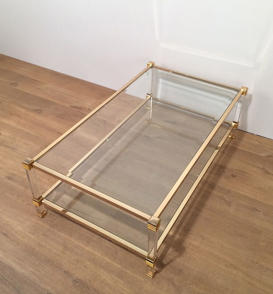 Gold Plated Coffee Table: Vintage Gold Plated And Plexiglas Coffee Table For Sale At