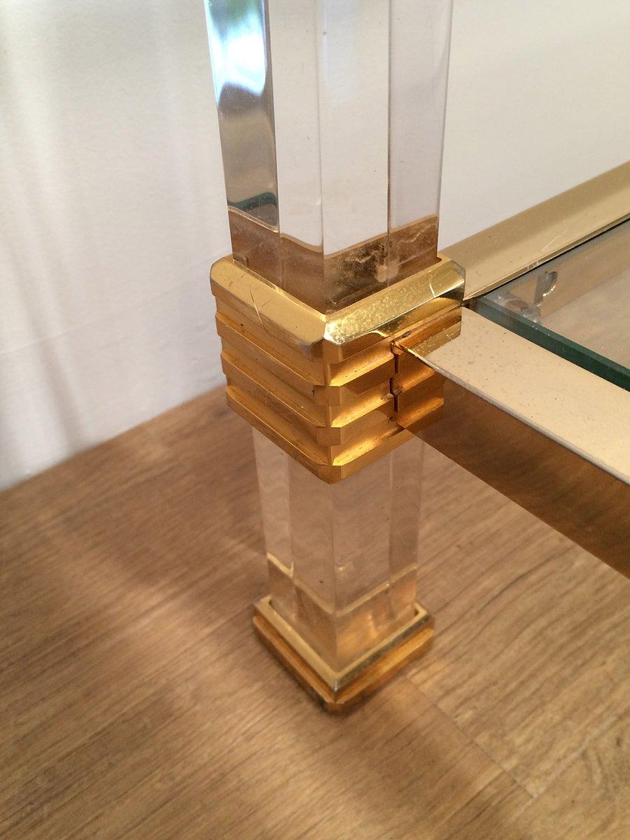 Vergoldeter vintage plexiglas couchtisch bei pamono kaufen for Plexiglas couchtisch