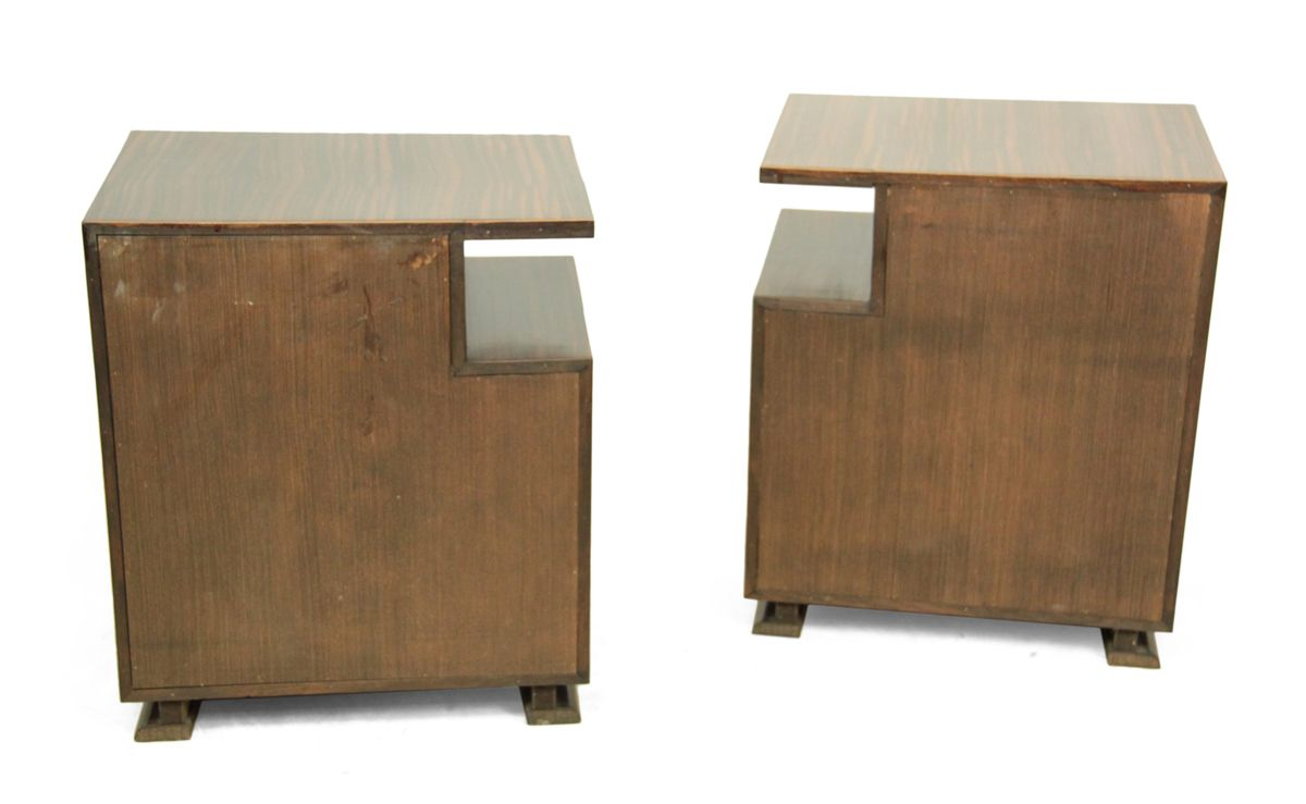 Art deco macassar ebony bedside tables 1930s set of 2 for 12 inch bedside table