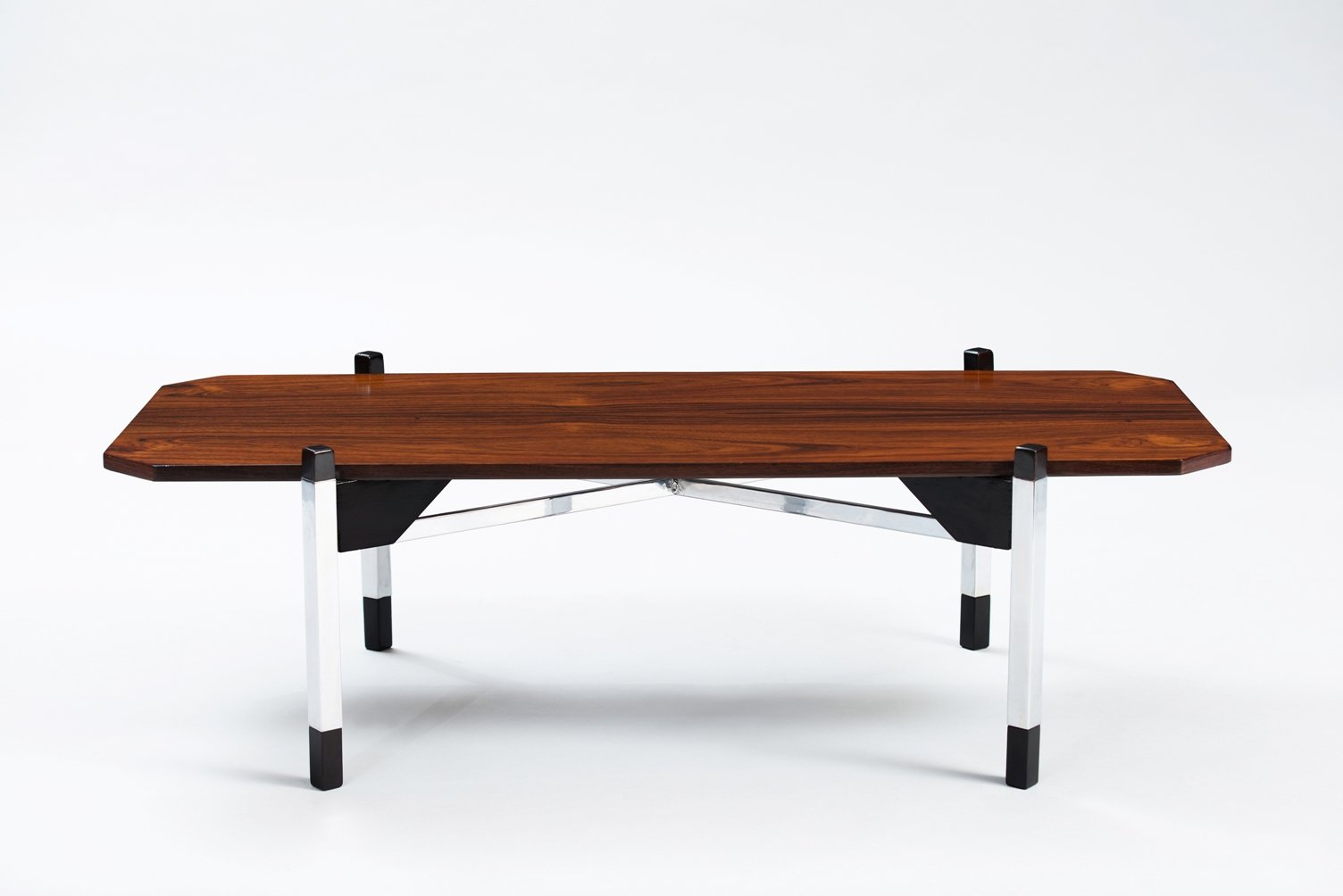 Italian rosewood chrome coffee table for sale at pamono for Italian coffee table