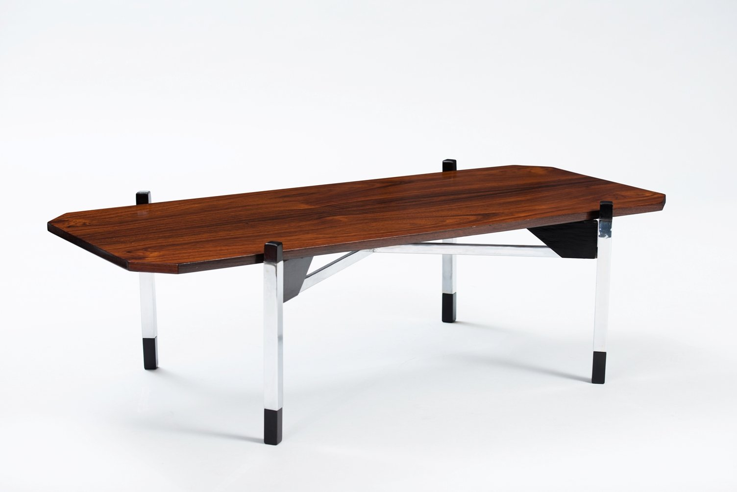 Italian rosewood chrome coffee table for sale at pamono italian rosewood chrome coffee table geotapseo Image collections
