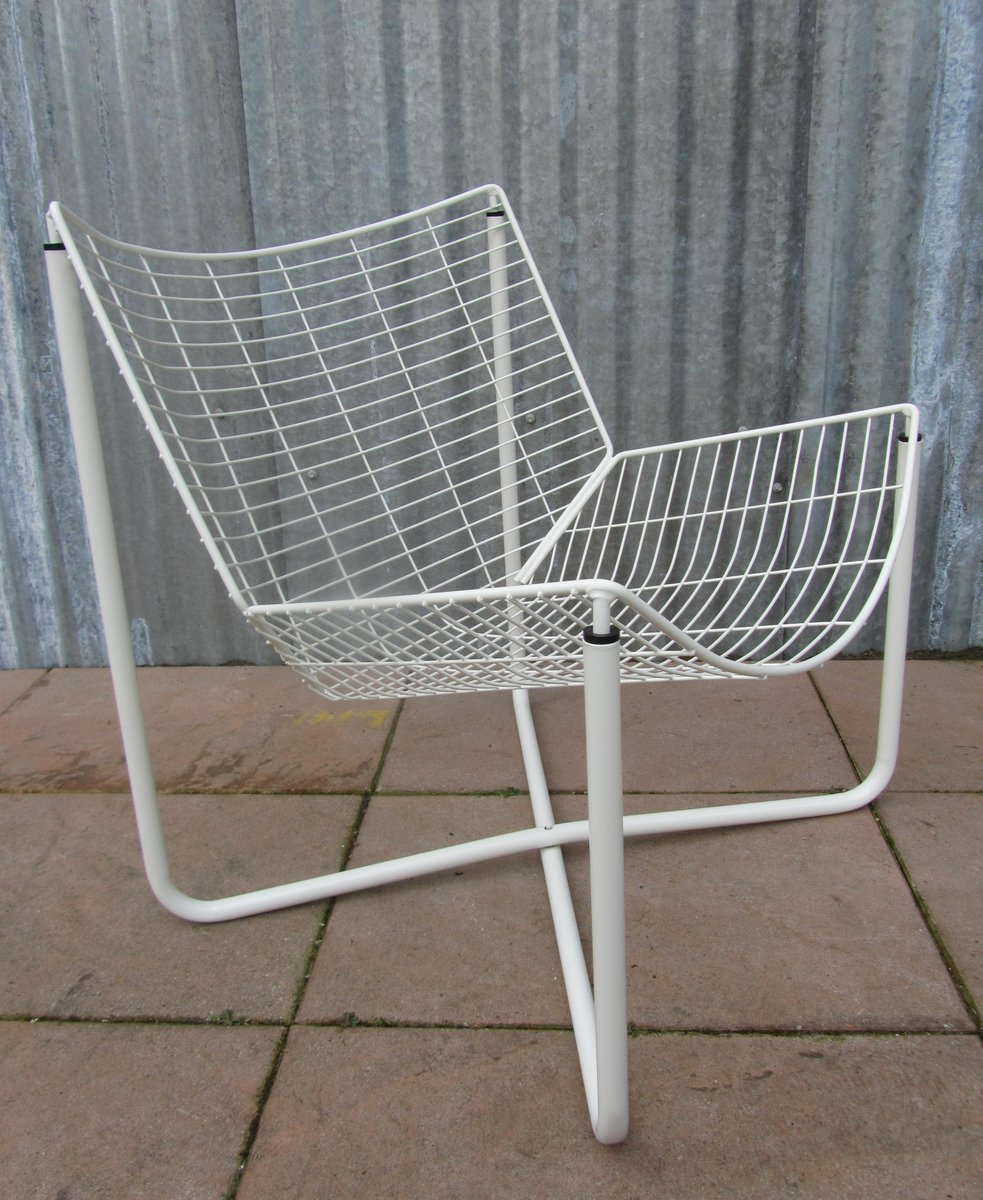 white jarpen wire chair by niels gammelgaard for ikea 1983 for sale at pamono. Black Bedroom Furniture Sets. Home Design Ideas