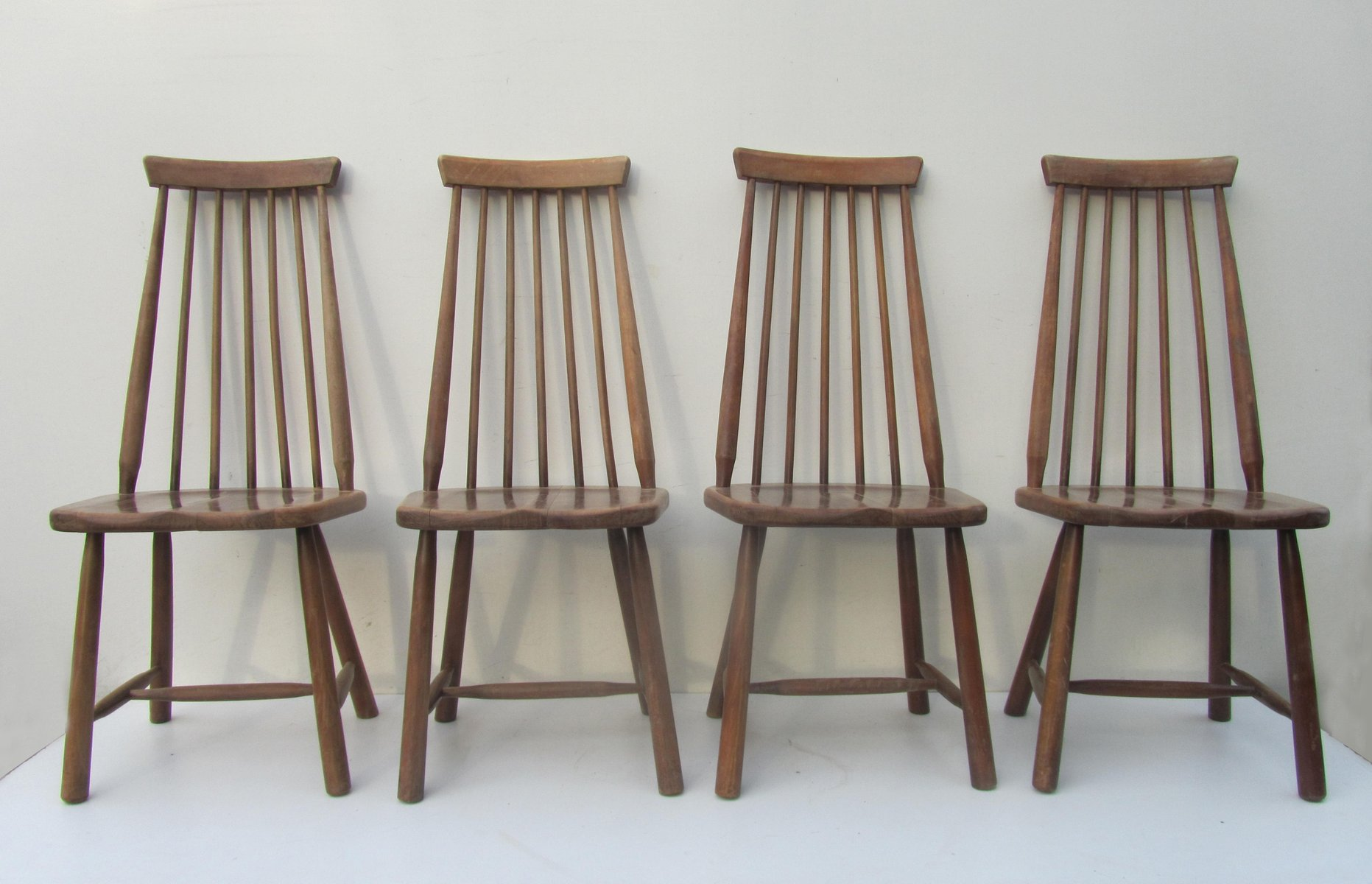 Mid Century Swedish High Back Spindle Chairs Set Of 4 For