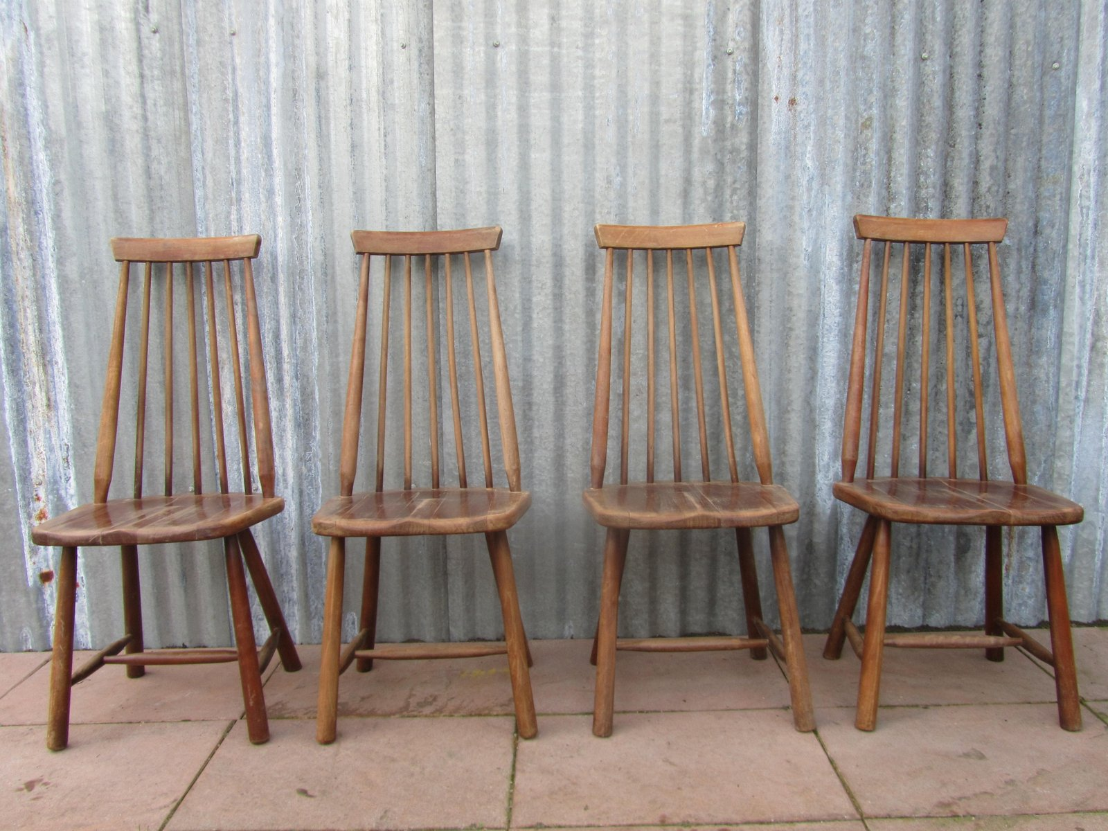 mid century swedish high back spindle chairs set of 4 for. Black Bedroom Furniture Sets. Home Design Ideas