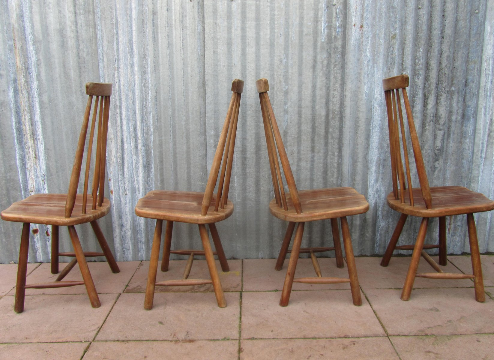 Mid Century Swedish High Back Spindle Chairs Set of 4 for sale at