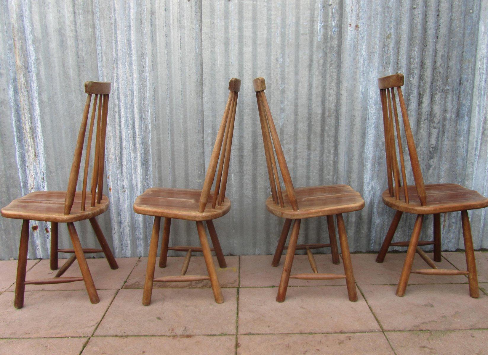 schwedische mid century st hle mit hoher lehne 4er set. Black Bedroom Furniture Sets. Home Design Ideas