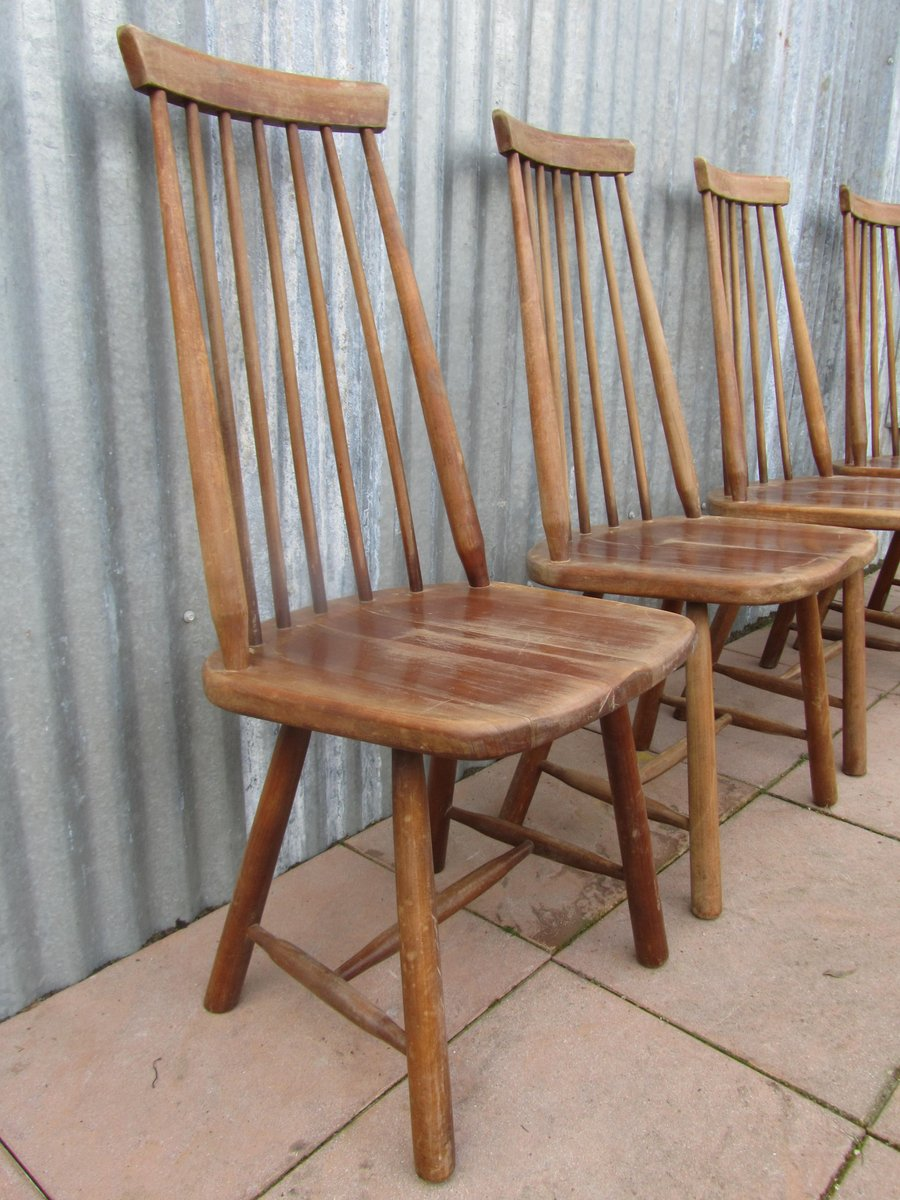 mid century swedish high back spindle chairs set of 4 for sale at pamono. Black Bedroom Furniture Sets. Home Design Ideas