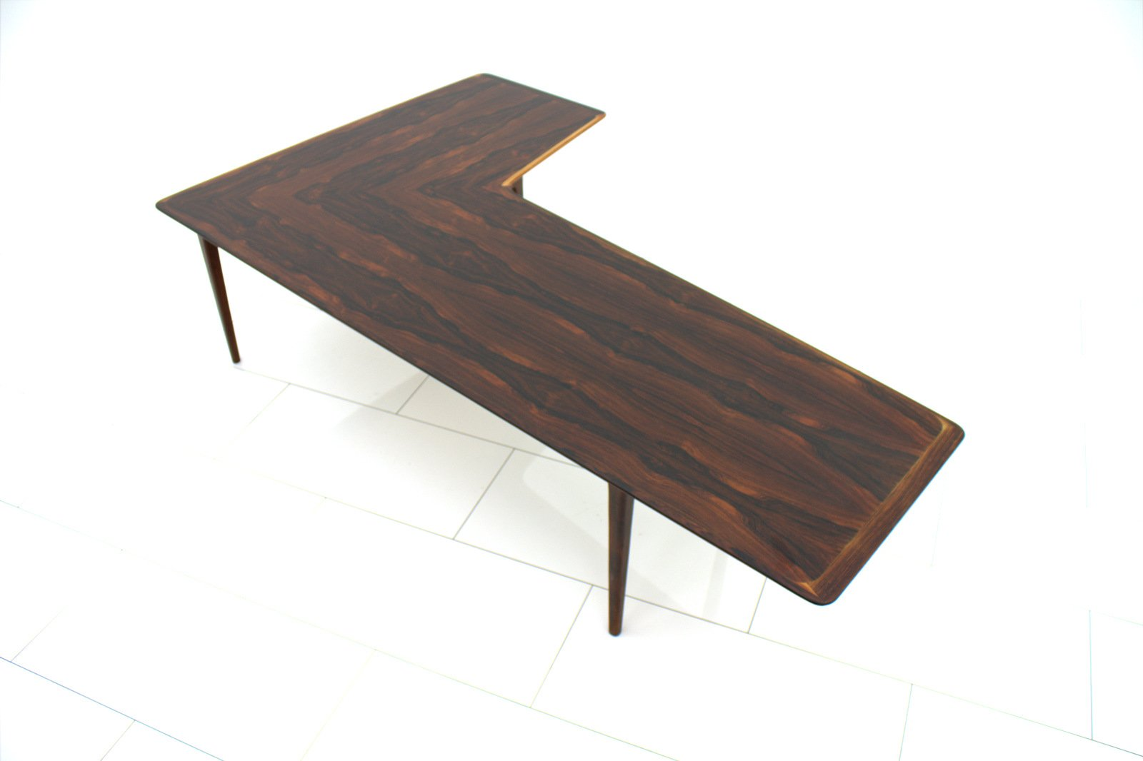 L Shaped Rosewood Coffee Table, 1960s