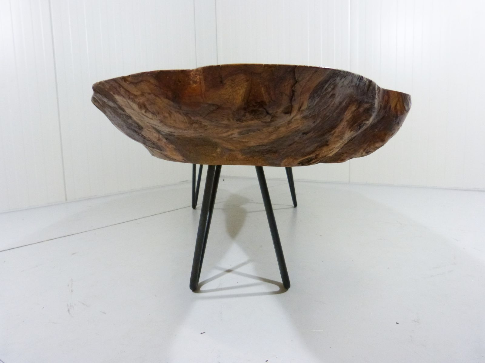 Vintage tree trunk coffee table with hairpin legs for sale for Tree coffee table