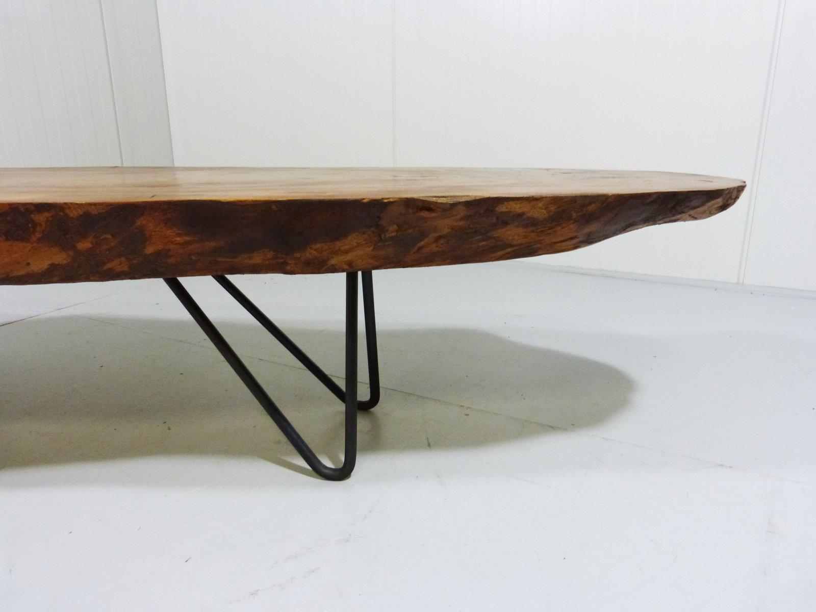 vintage baumstamm couchtisch mit stahlbeinen bei pamono kaufen. Black Bedroom Furniture Sets. Home Design Ideas