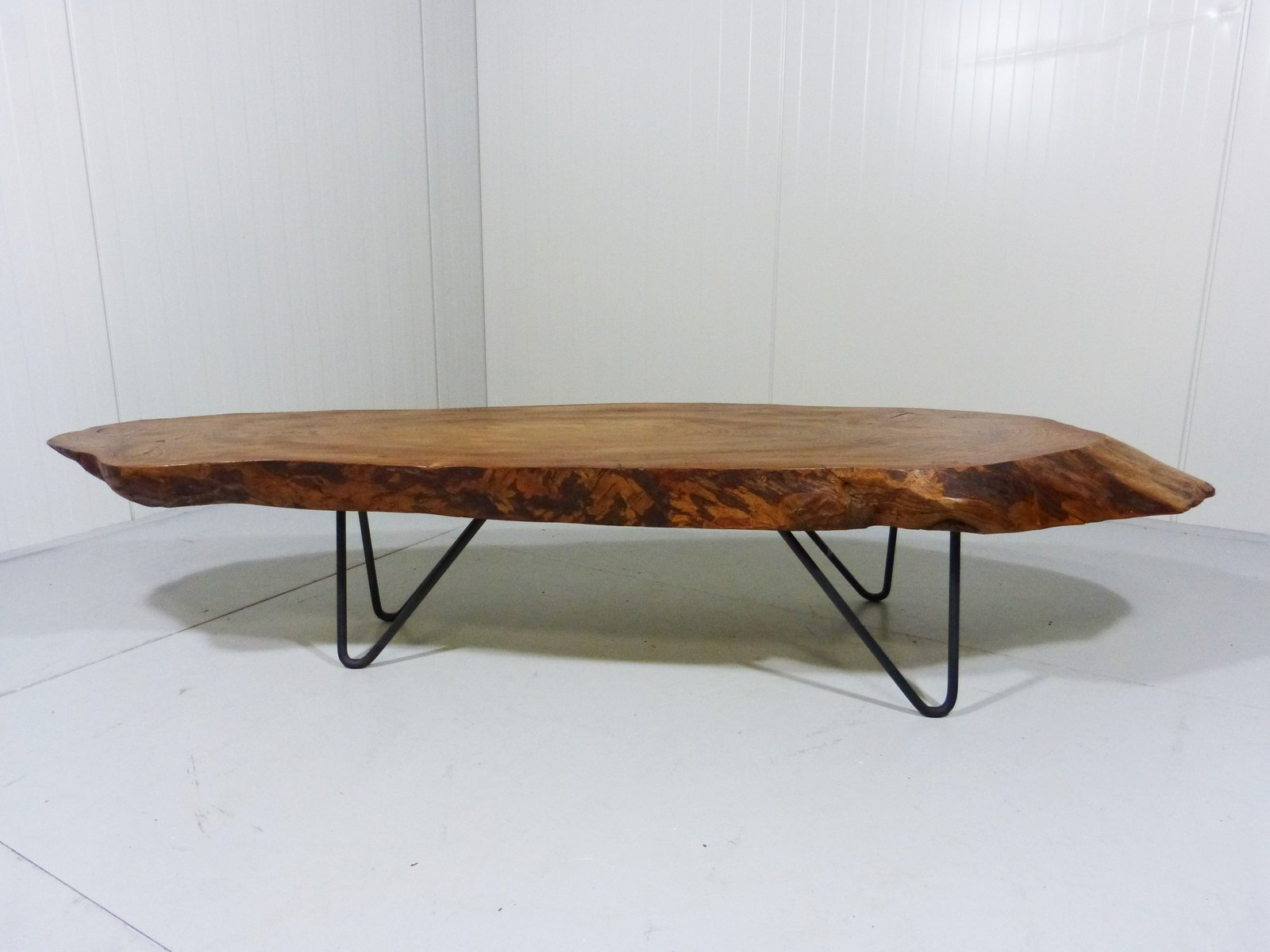 Vintage Tree Trunk Coffee Table With Hairpin Legs For Sale