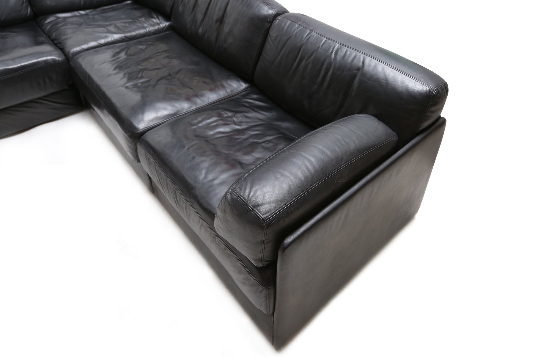 Vintage DS 76 L Shaped Black Leather Sofa From De Sede