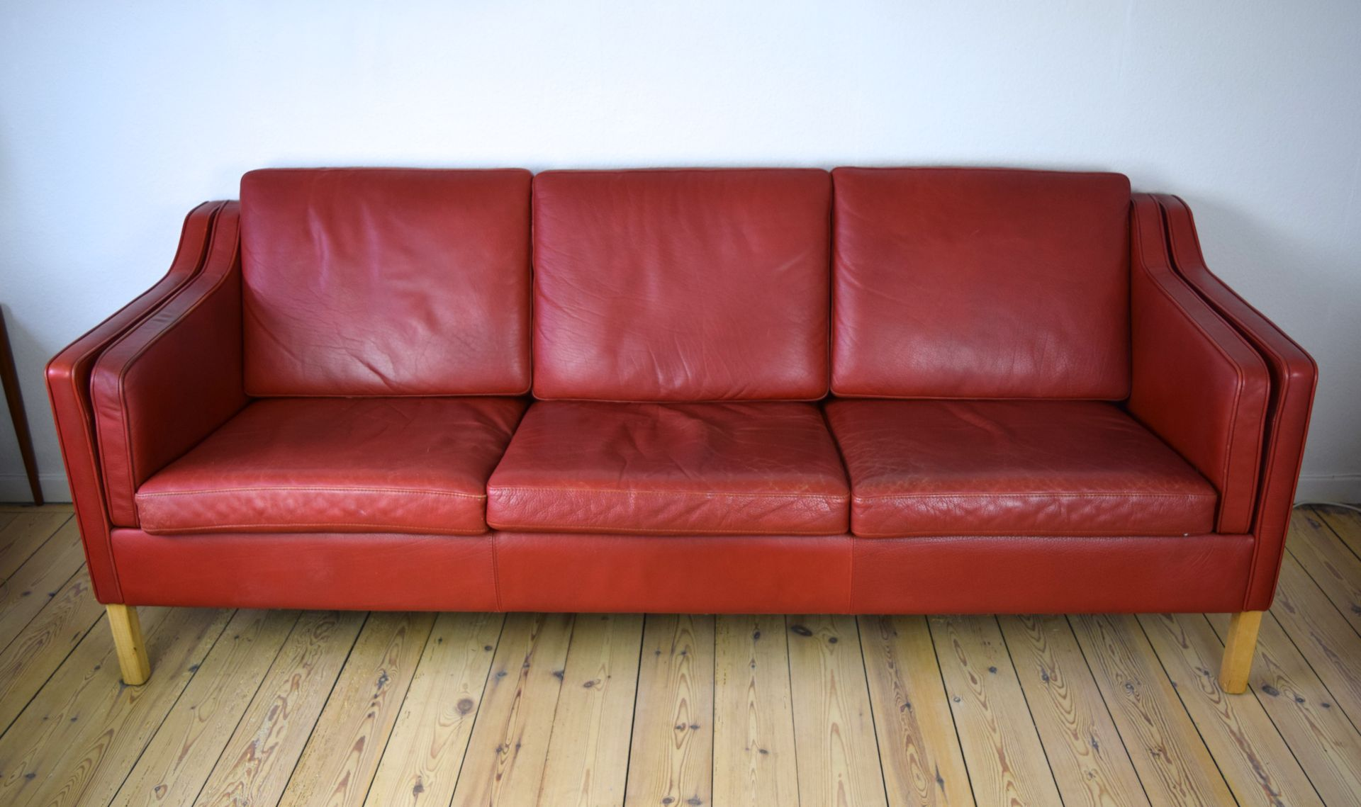 Vintage Danish Red Leather Sofa For Sale At Pamono