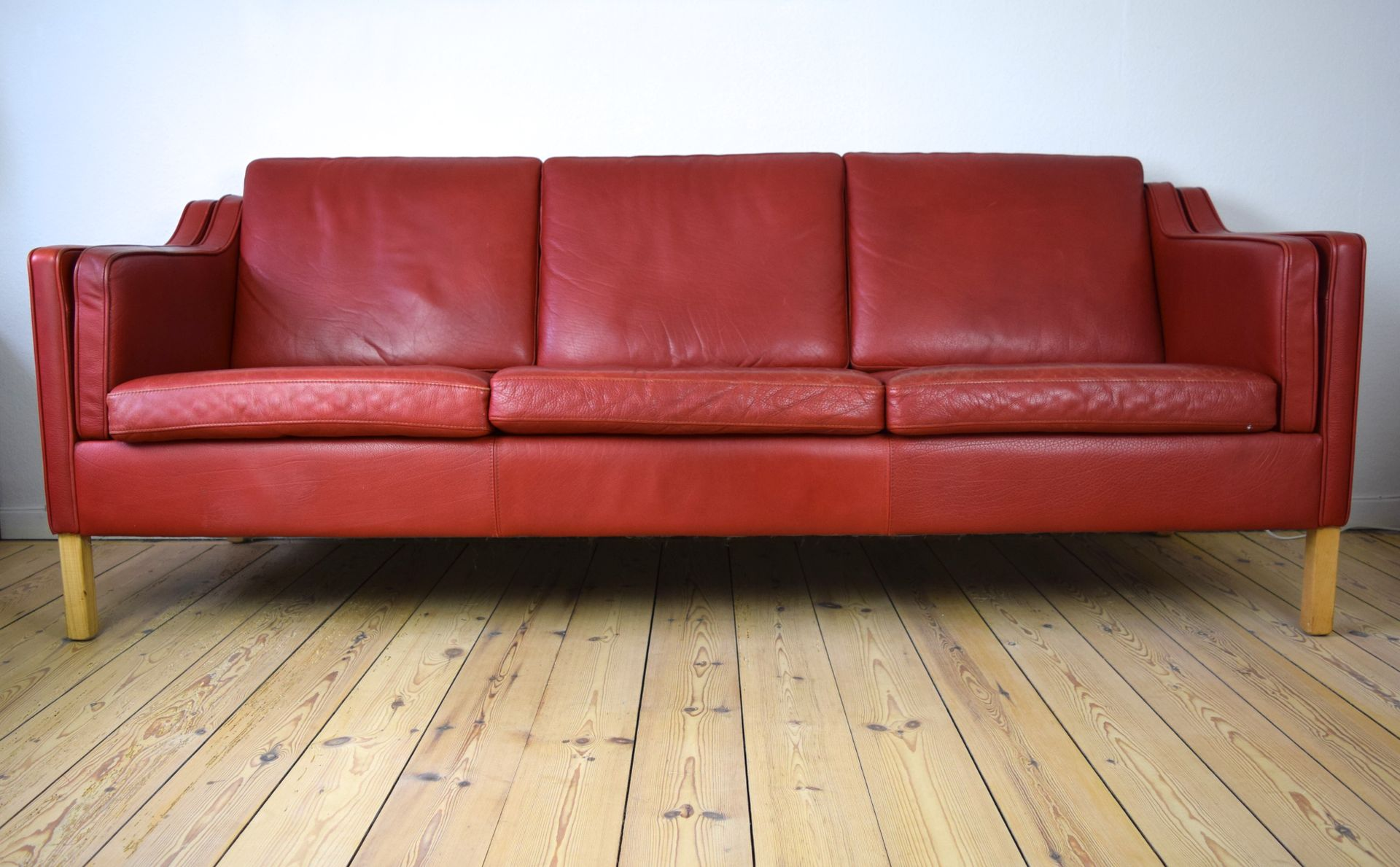 Vintage danish red leather sofa for sale at pamono for Red leather sectional sofa for sale
