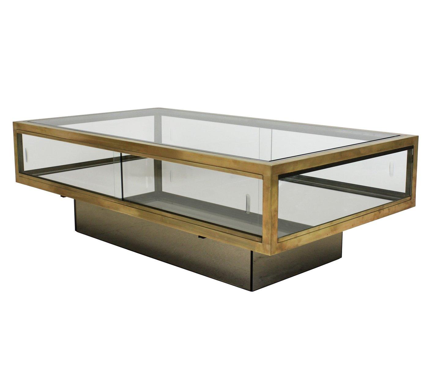 Large mid century brass vitrine occasional table for sale for Occasional table manufacturers
