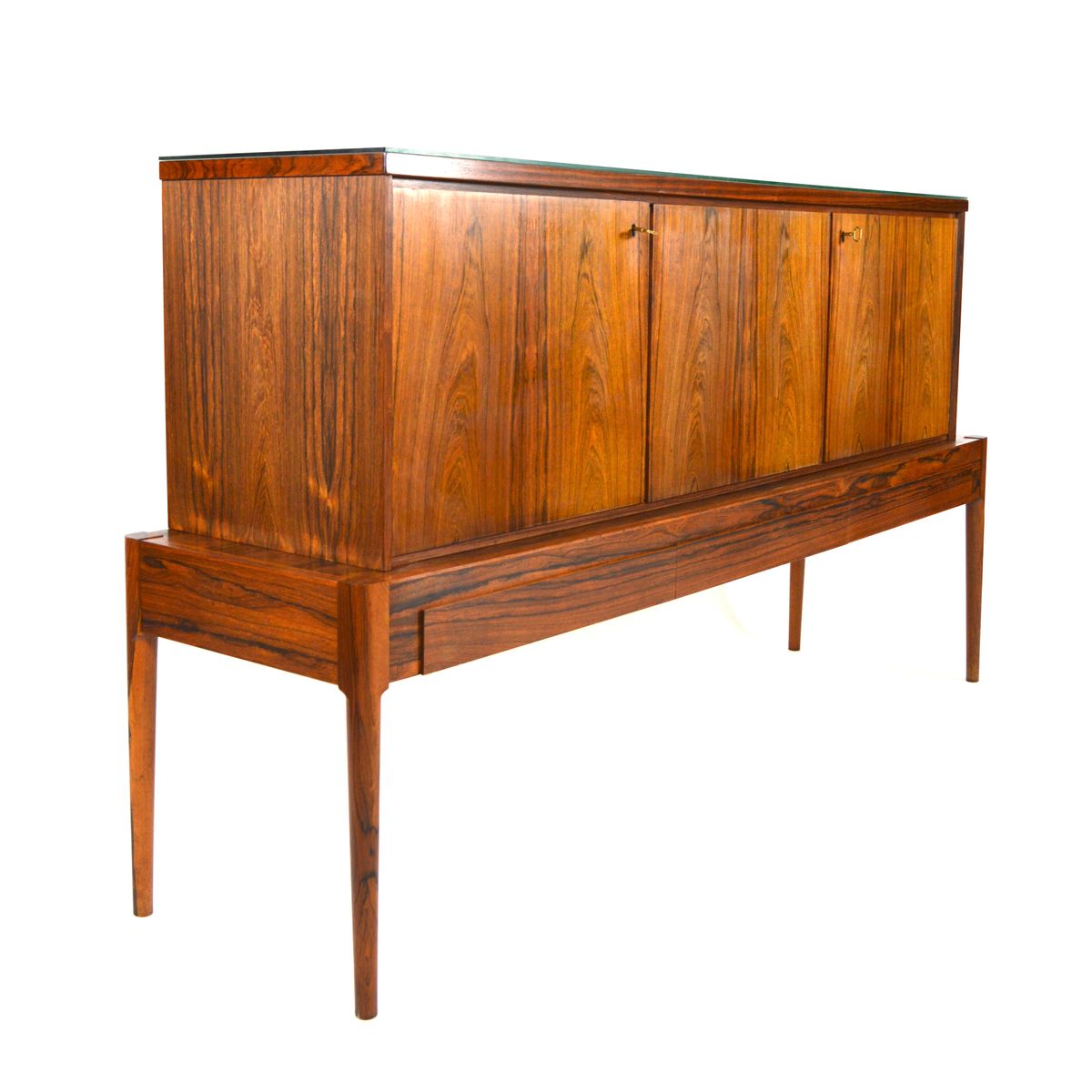 Danish rosewood sideboard with glass top 1960s for sale for Sideboard glas