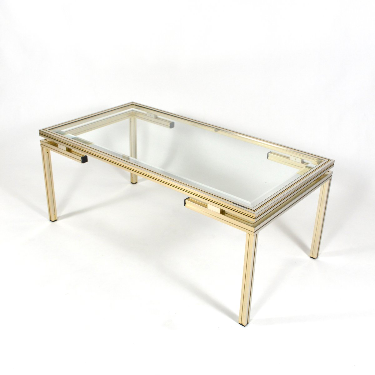 French Silver And Gold Coffee Table By Pierre Vandel 1970s