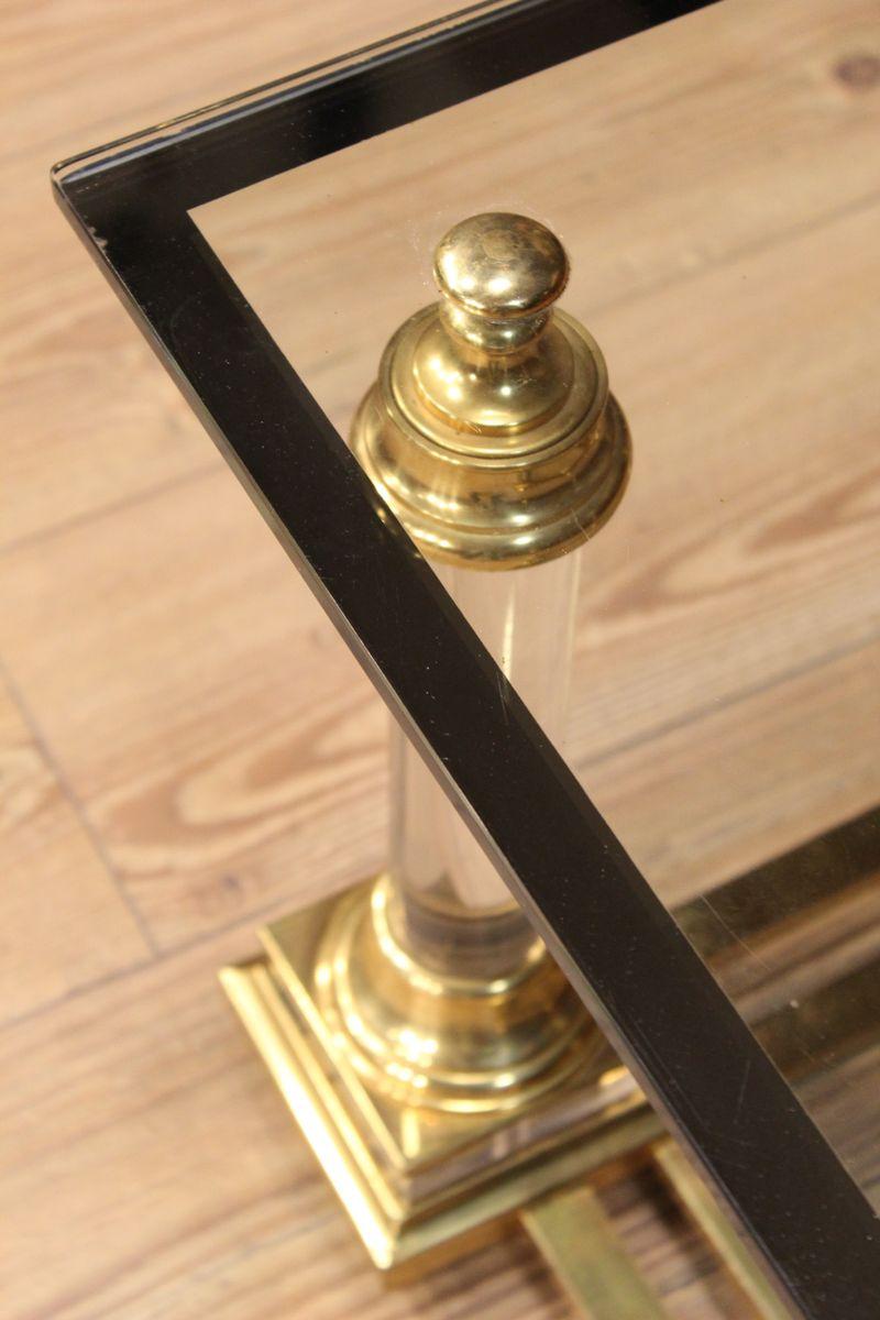 Zweigliedriger Italienischer Glas & Messing Couchtisch bei Pamono kaufen -> Couchtisch Glas Messing Italienisch
