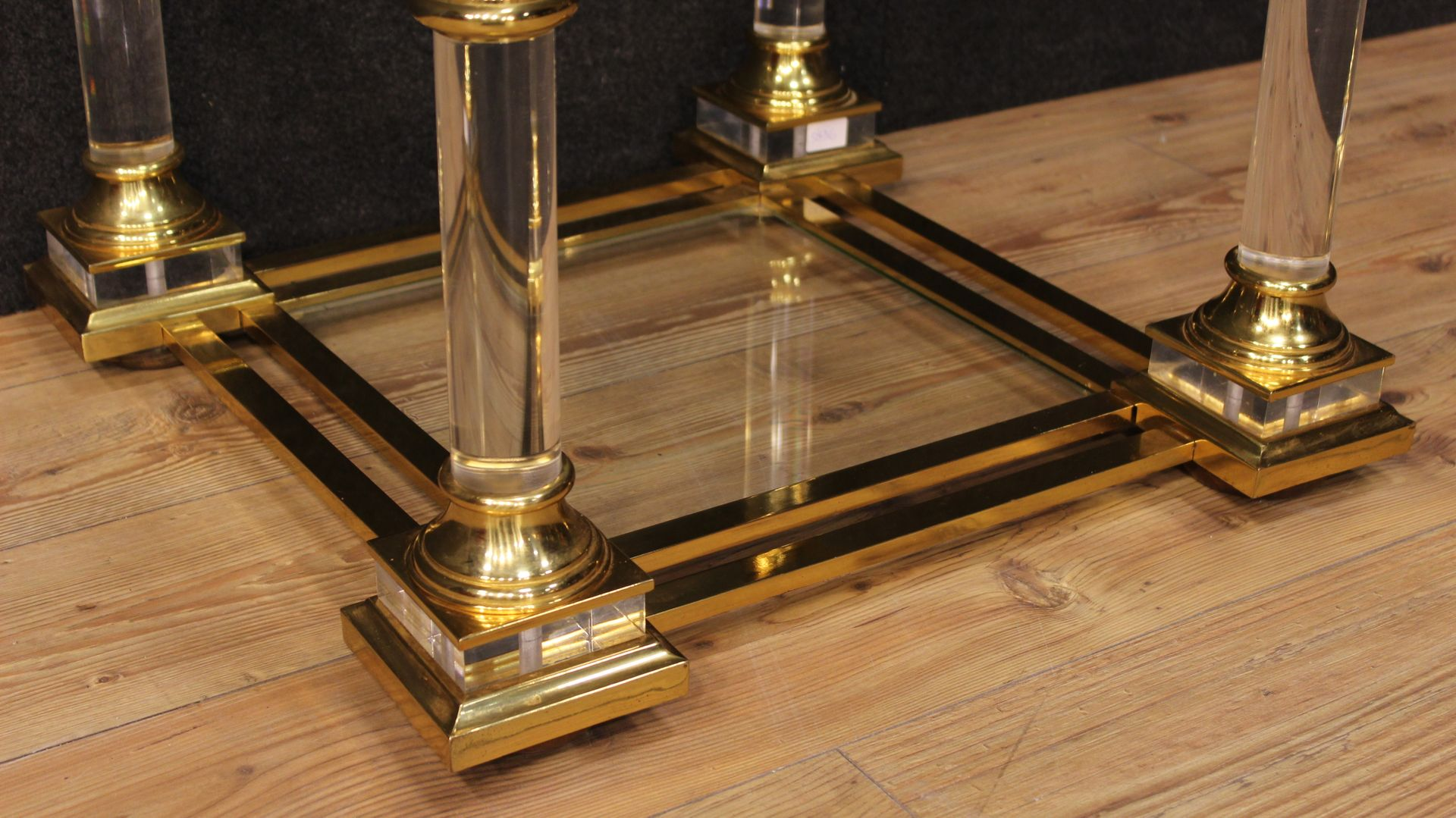 Two Tiered Italian Glass Brass Coffee Table For Sale At Pamono