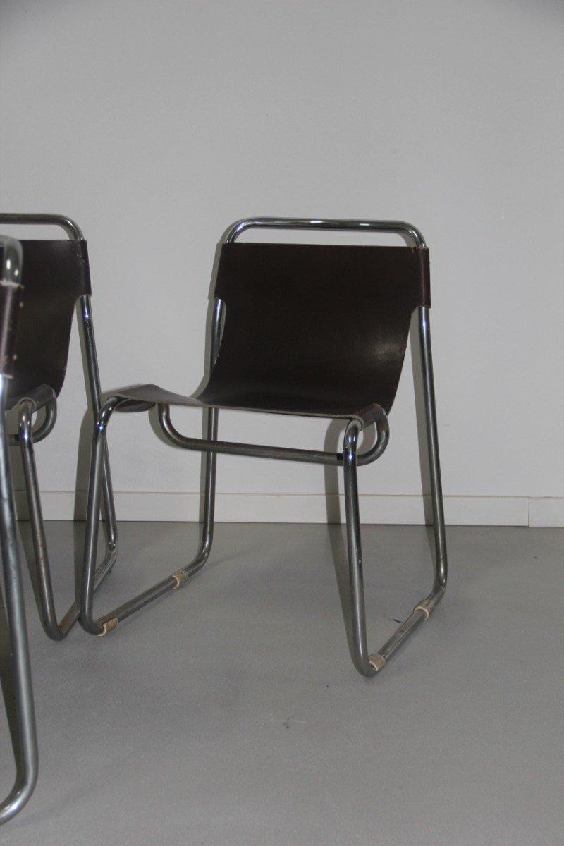 minimalistische braune leder st hle 1970er 6er set bei. Black Bedroom Furniture Sets. Home Design Ideas