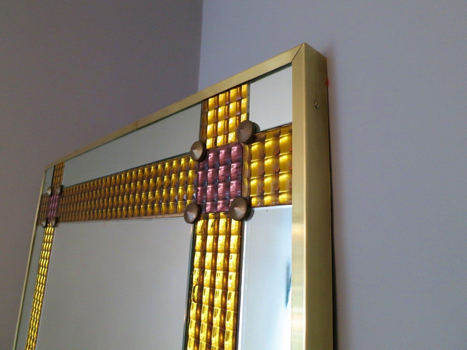 Grand miroir avec cadre en laiton italie 1960s en vente for Grand miroir solde