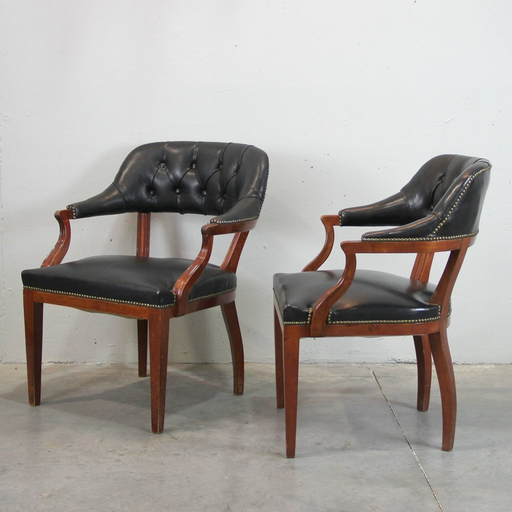 Spanish Black Leather Armchairs, Set of 2 for sale at Pamono