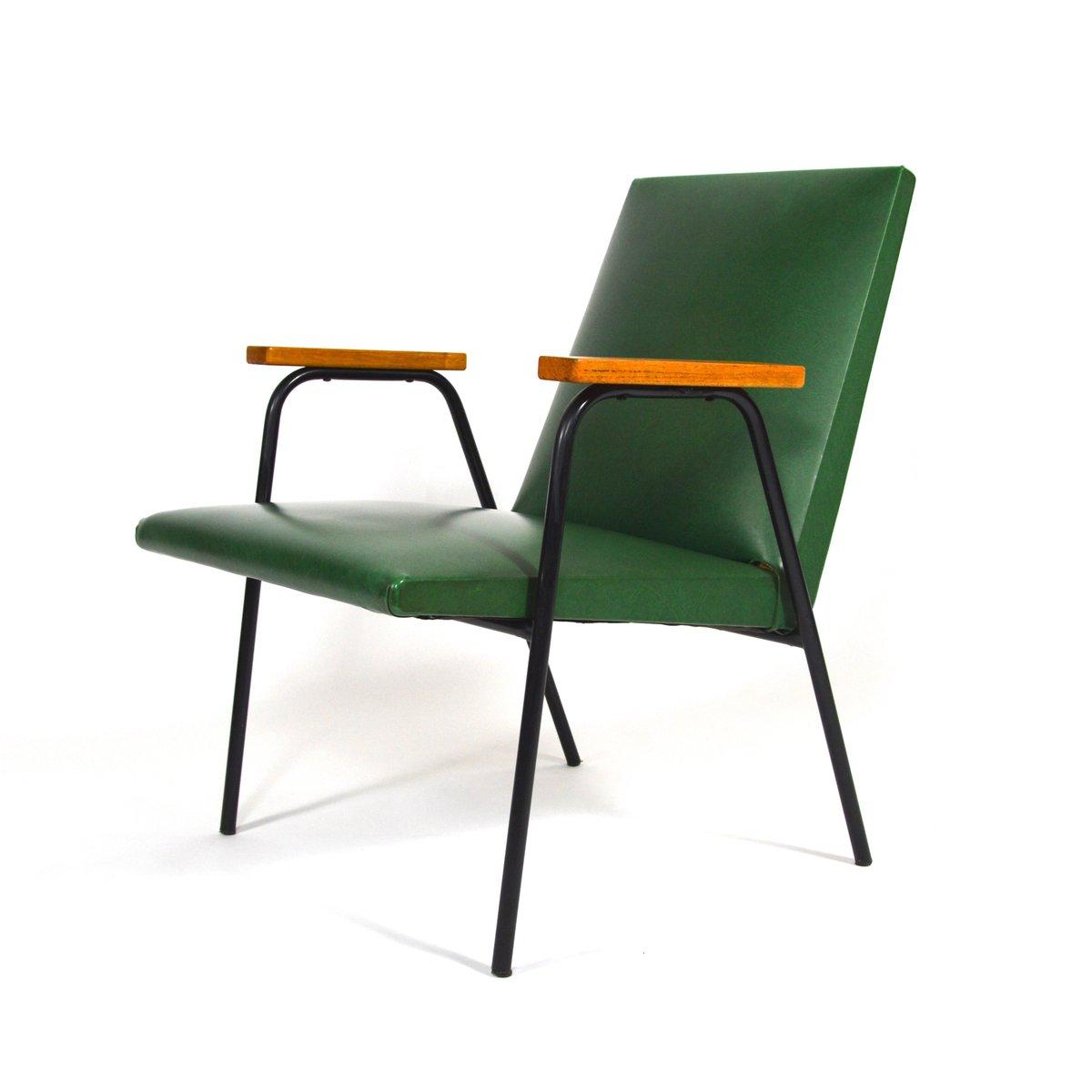 gr ner kunstleder sessel von pierre guariche 1950er bei. Black Bedroom Furniture Sets. Home Design Ideas