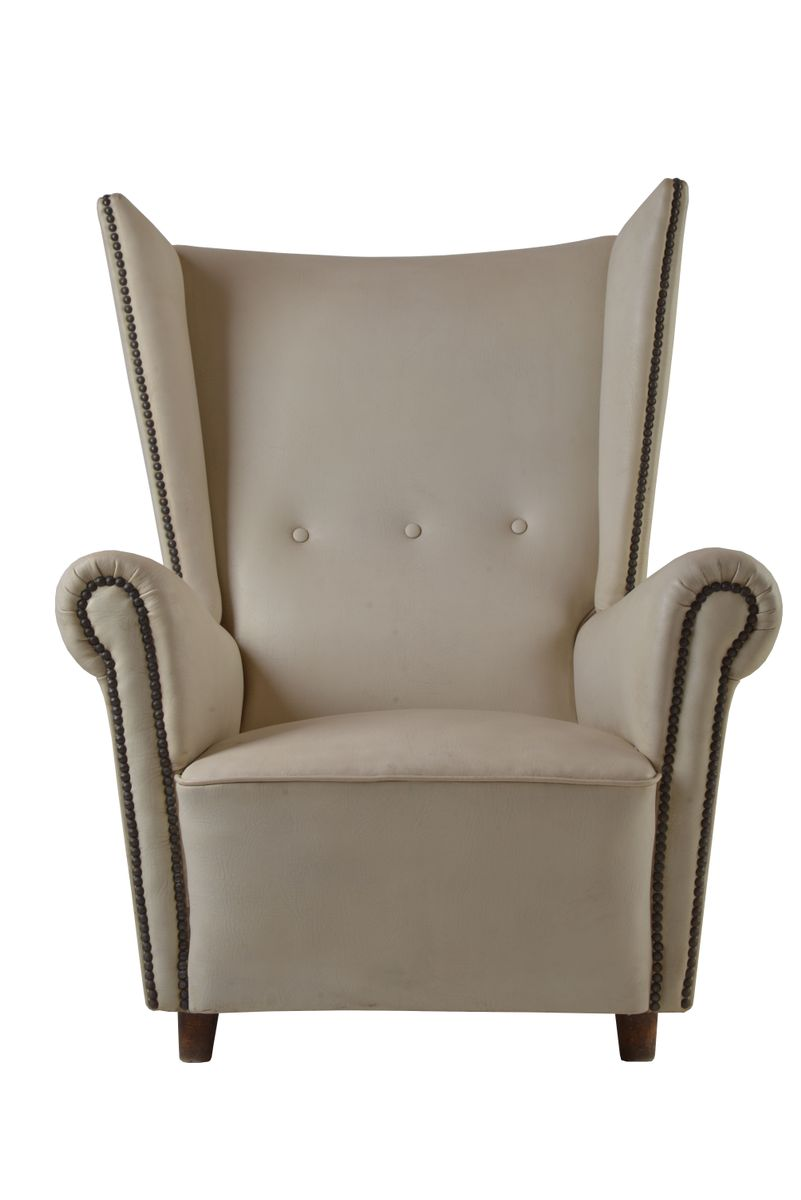 White Leather Wing Chair 1950s For Sale At Pamono