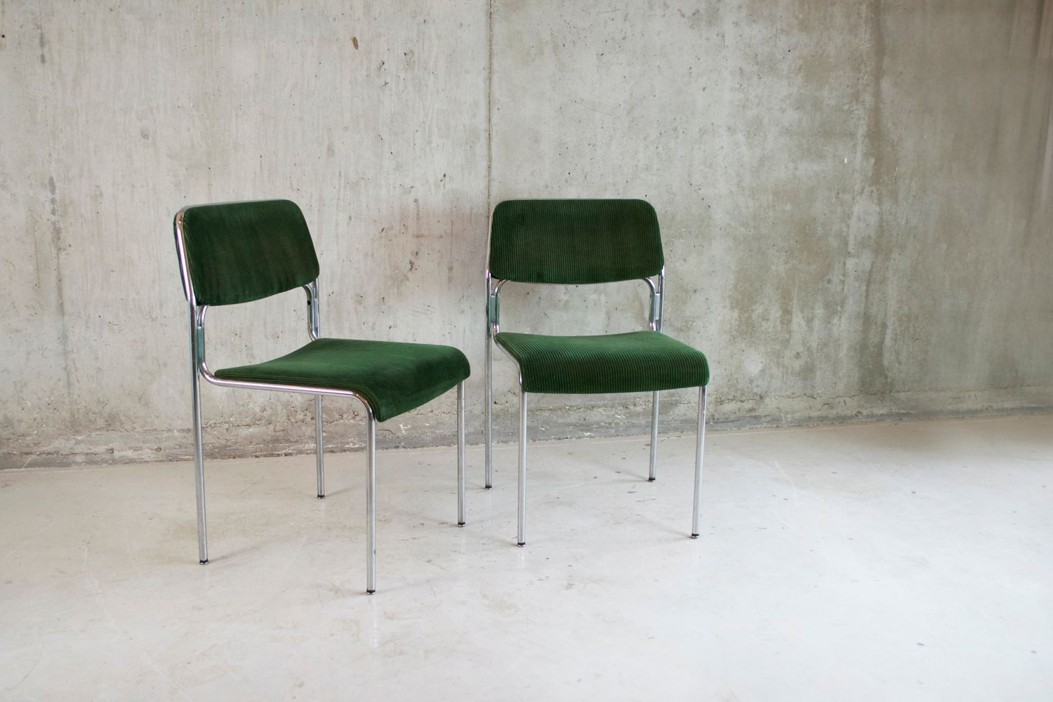 german green corduroy office chairs 1970s set of 2 for