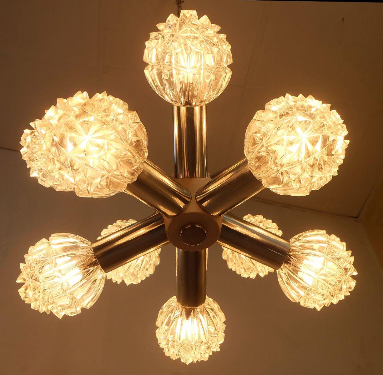 metall glas sputnik lampe von veb wohnraumleuchten erlangen 1960er bei pamono kaufen. Black Bedroom Furniture Sets. Home Design Ideas