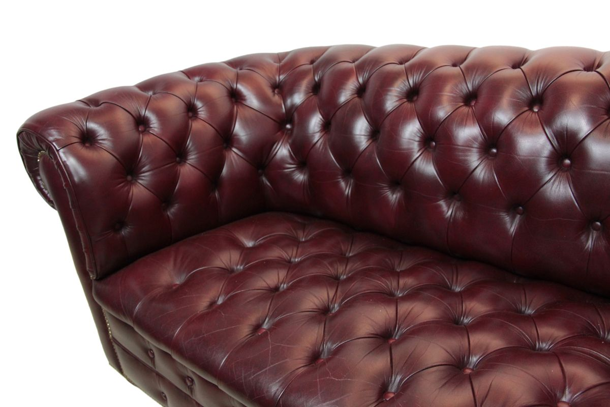 Vintage Red Leather Chesterfield Sofa, 1980s For Sale At