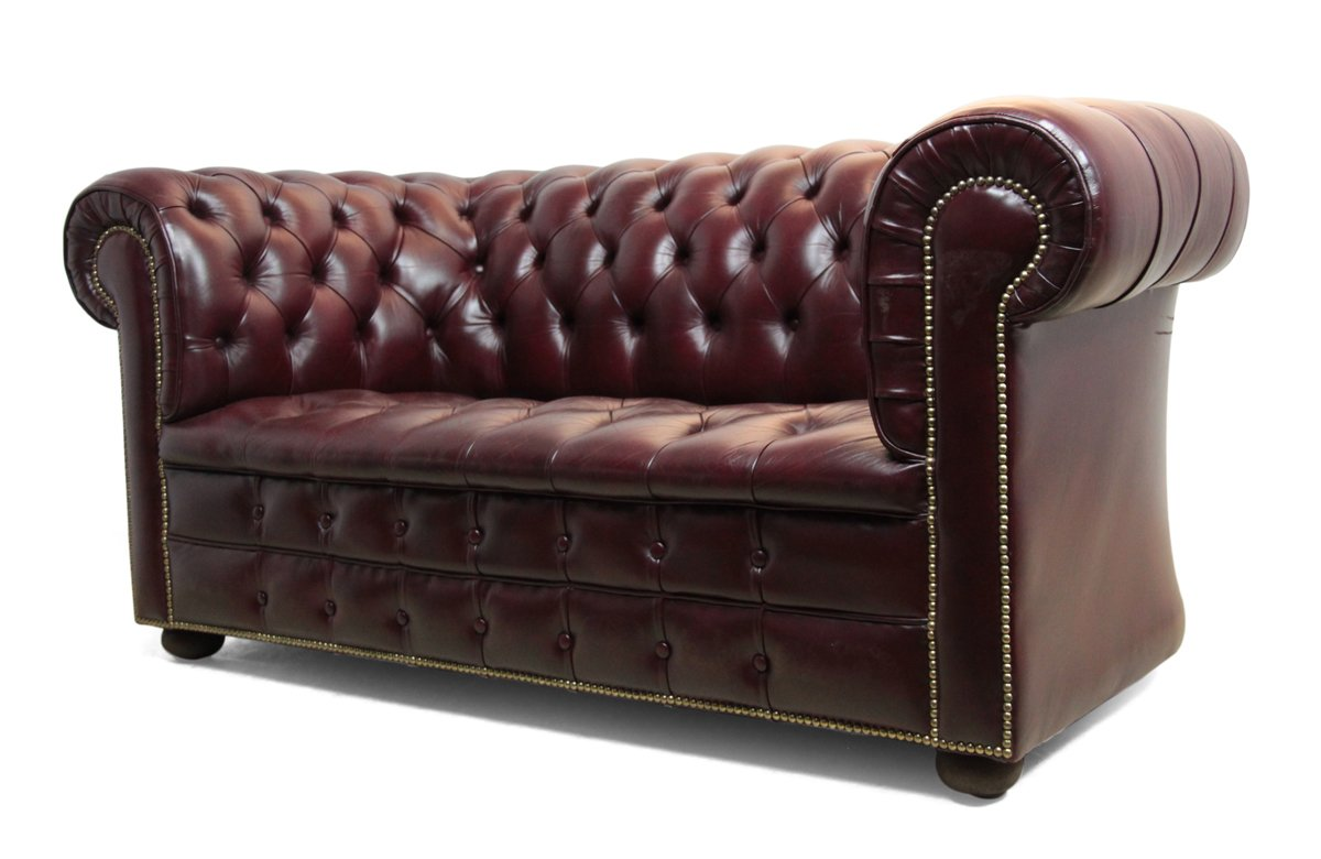 Vintage Red Leather Chesterfield Sofa, 1980s for sale at Pamono