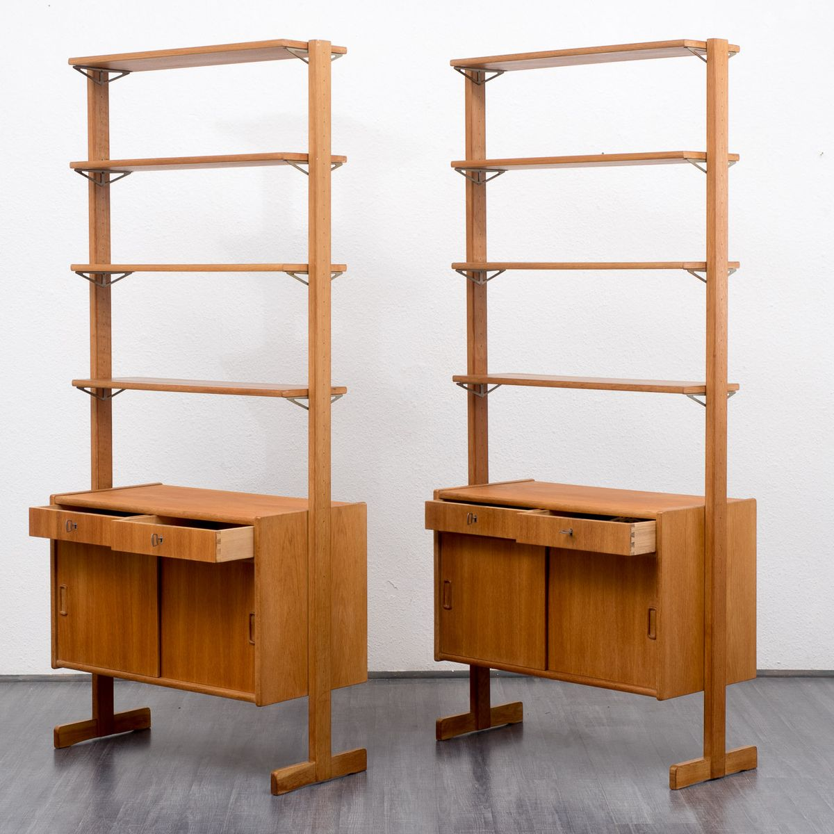 Free Standing Oak Shelving Unit 1960s For Sale At Pamono