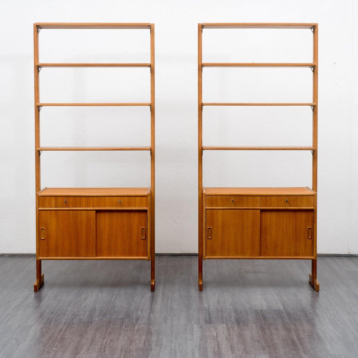 free standing oak shelving unit 1960s for sale at pamono. Black Bedroom Furniture Sets. Home Design Ideas