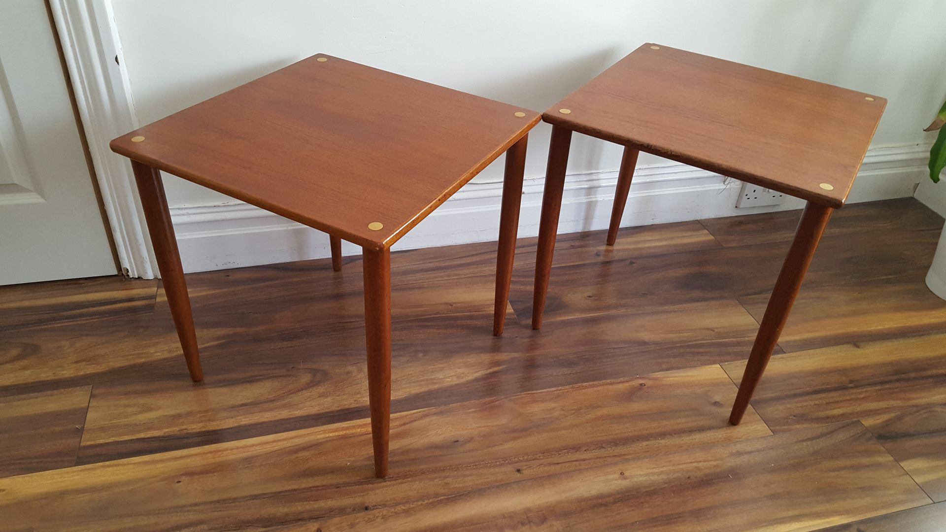 midcentury italian teak stacking tables set of  for sale at pamono - midcentury italian teak stacking tables set of