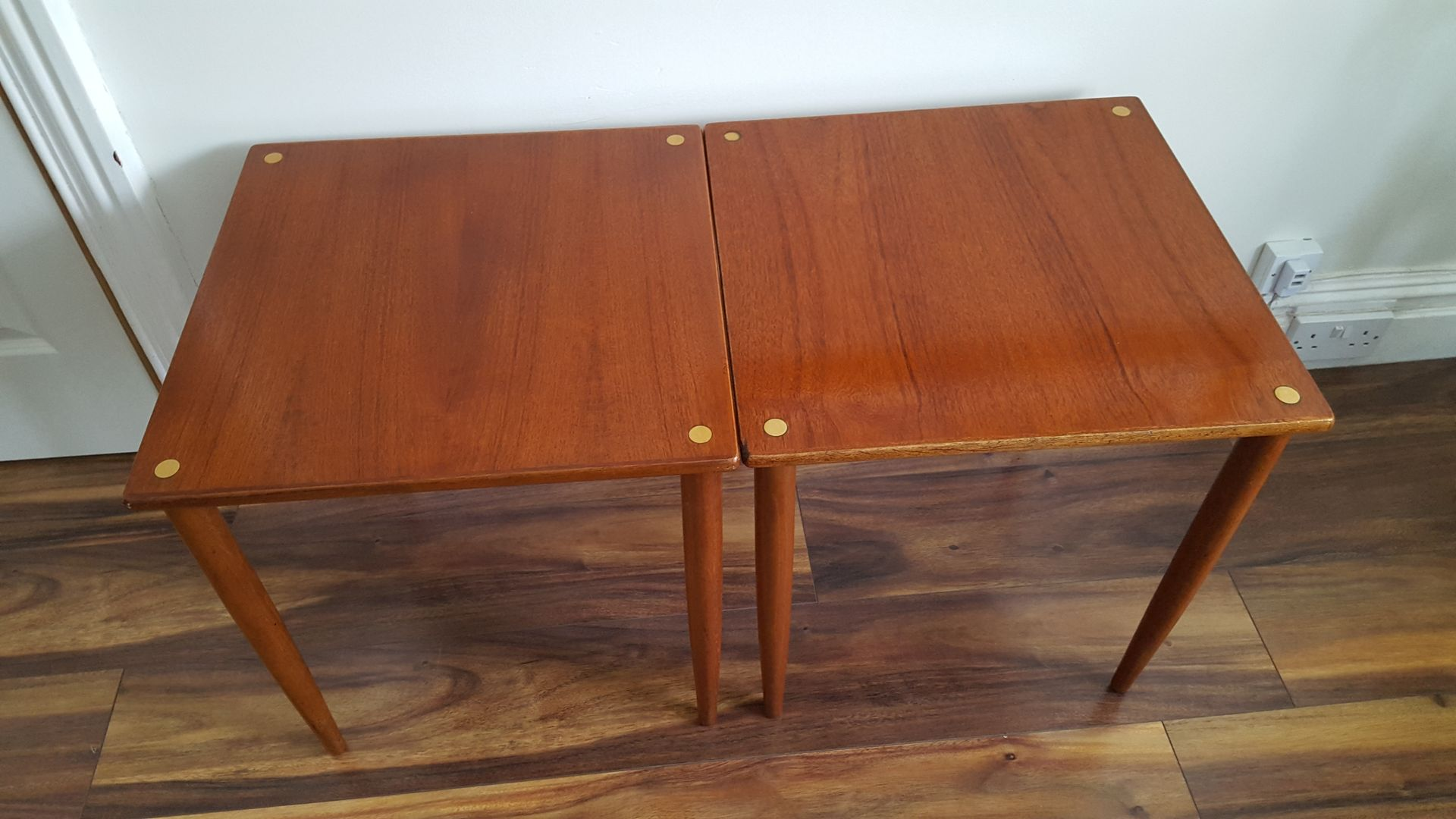 midcentury italian teak stacking tables set of  for sale at pamono - price per set