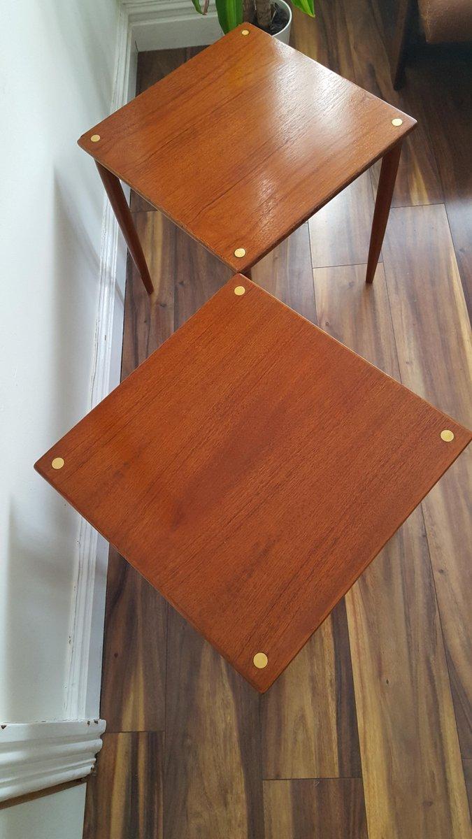Italienische stapelbare mid century tische aus teak 2er for Italienische designer tische