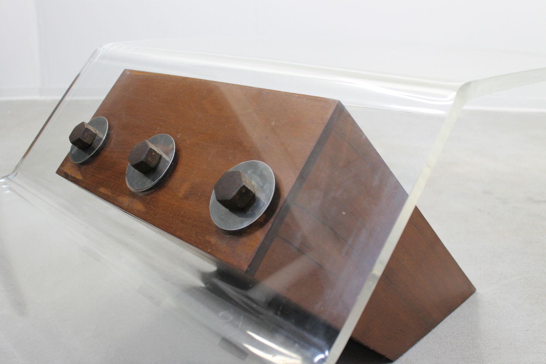 Italienischer plexiglas teak couchtisch 1960er bei for Couchtisch plexiglas