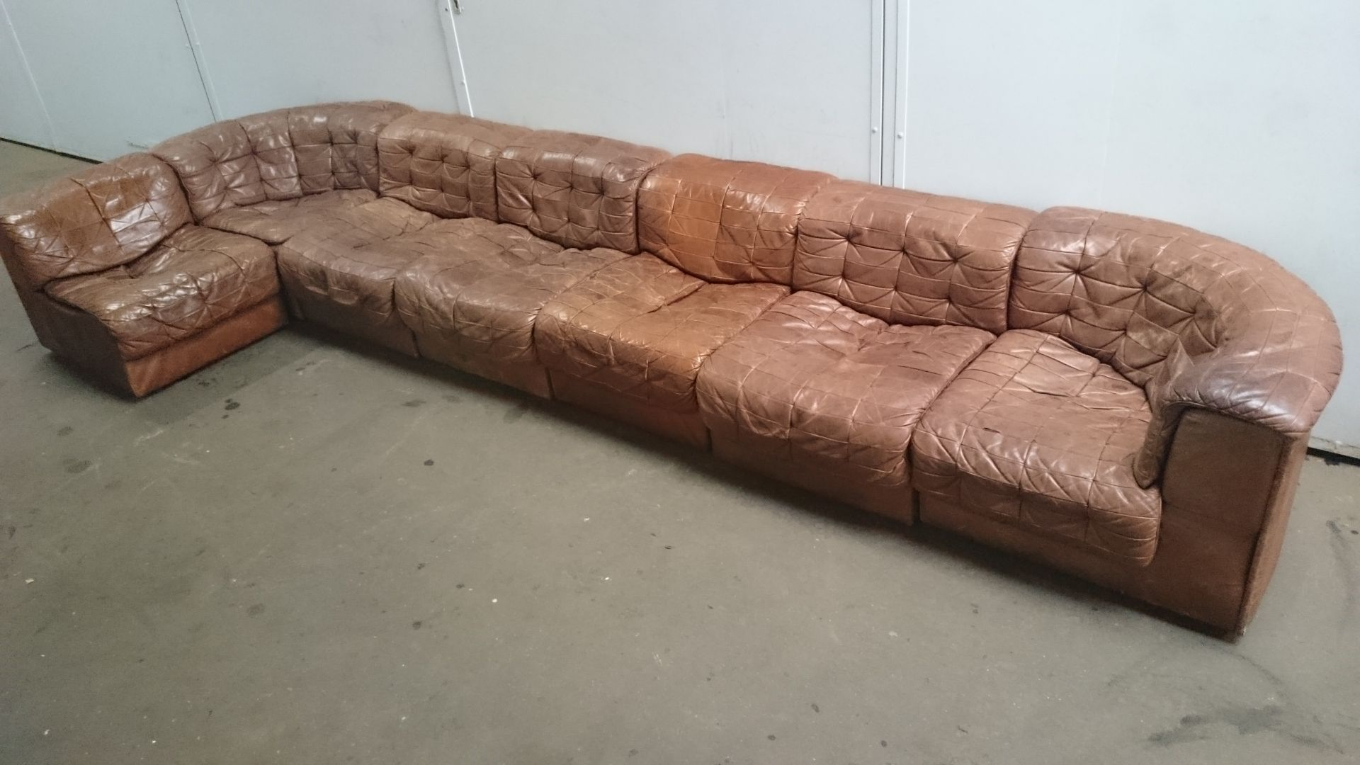 large vintage ds 11 leather sofa from de sede for sale at. Black Bedroom Furniture Sets. Home Design Ideas