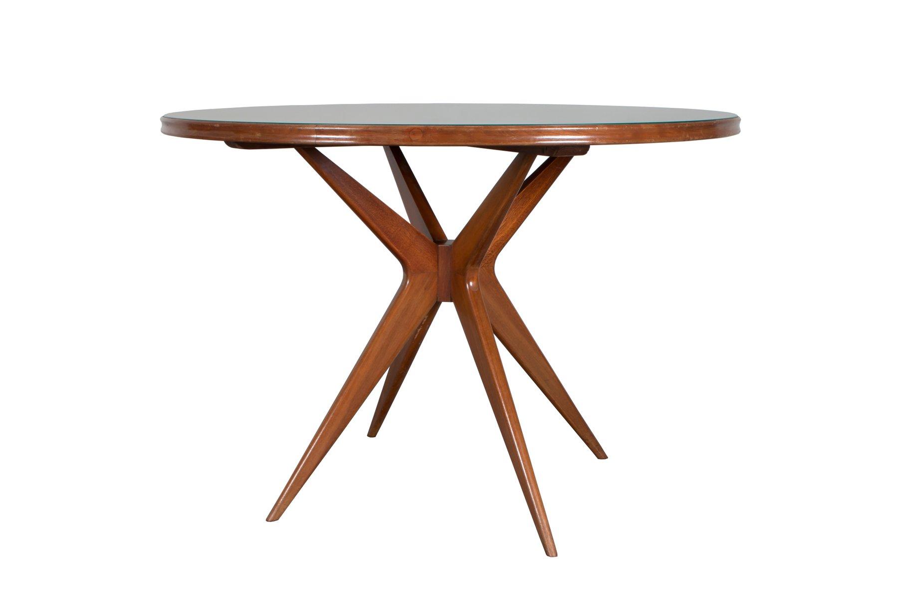 tavolo rotondo in vetro verde italia anni 39 50 in vendita su pamono. Black Bedroom Furniture Sets. Home Design Ideas