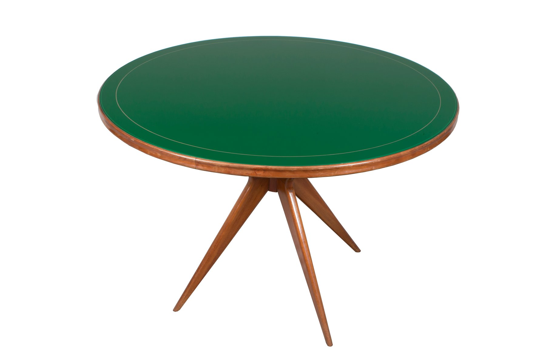 Tavolo rotondo in vetro verde, Italia, anni \'50 in vendita su Pamono