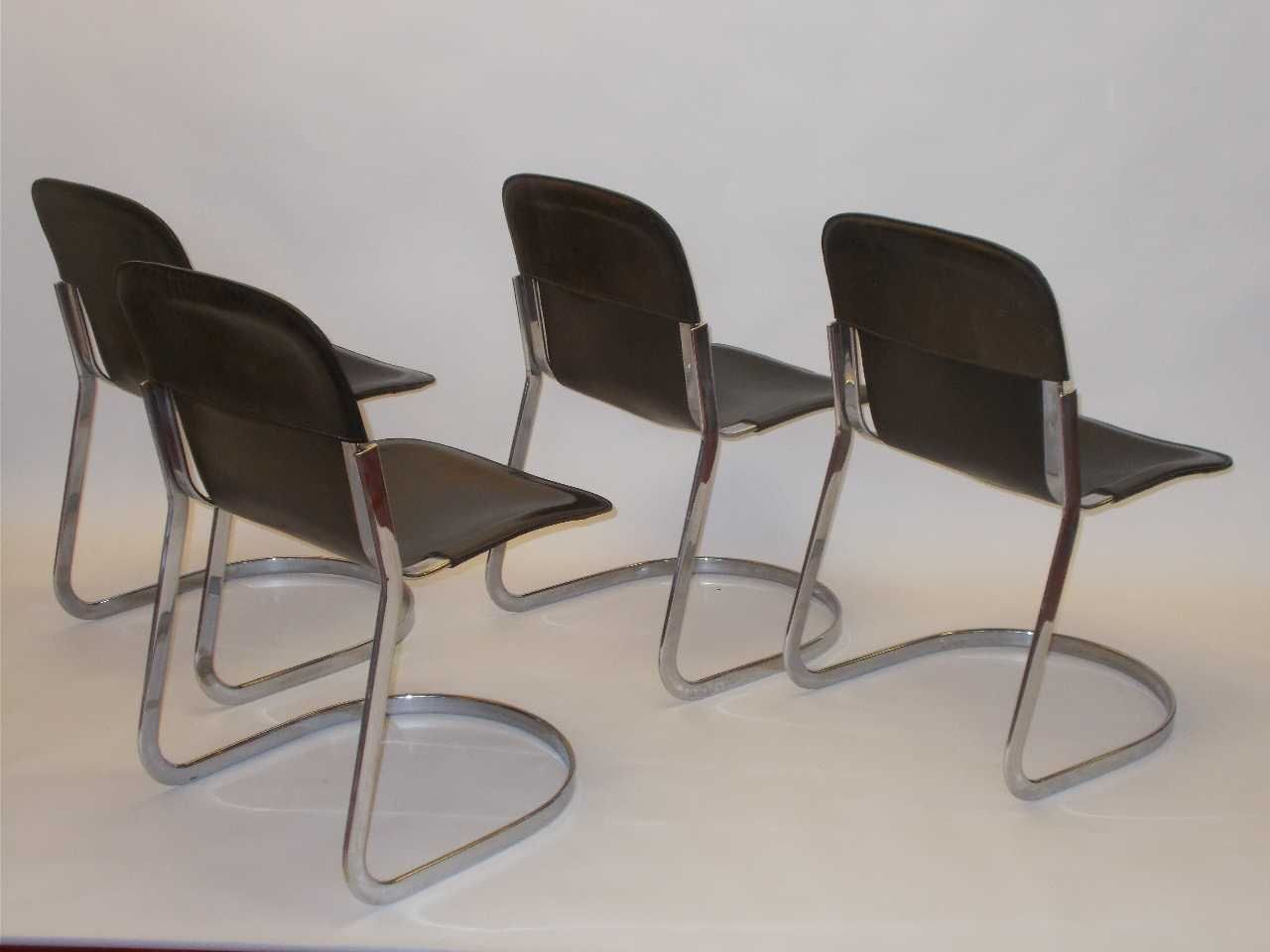Dark brown leather dining chairs by willy rizzo 1960s for Brown leather dining chairs