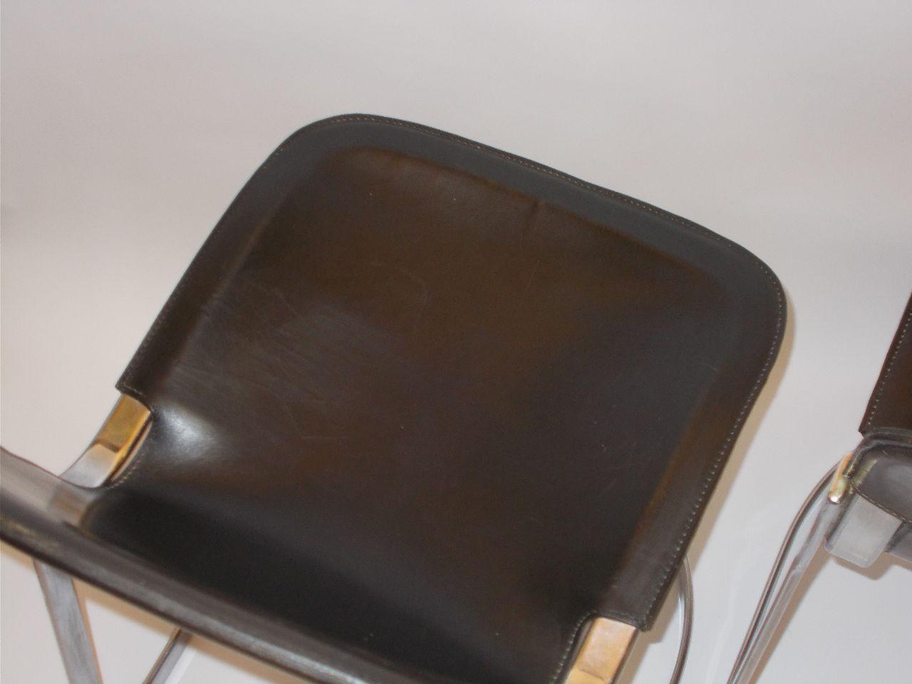 Chaises de Salon en Cuir Marron Foncé par Willy Rizzo, 1960s, Set ...